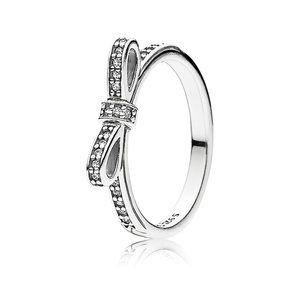 Pandora Silver Sparkling Bow Ring